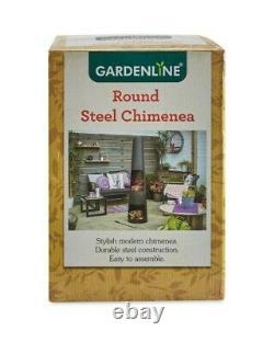 Gardenline Round Steel Chimenea Outdoor Fire Pit Log Burner 3 Years Warranty