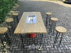 Gas Fire Pit Wooden Table And 6 Stools
