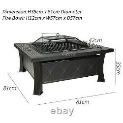 HEATSURE Outdoor Multifunctional Fire Pit Garden BBQ Brazier Square Patio Heater