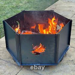 Hexagon Steel Fire Pit, with Cooking Grill & Tray UK Manufactured Free P&P