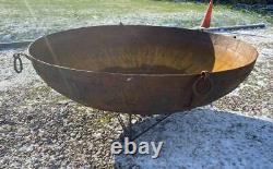Huge Original Iron Indian Kadai Fire Pit Bowl 187cm Diameter Includes Stand