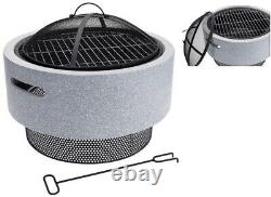 Koopman Large Fire Bowl & BBQ 52cm Garden Patio Outdoor Heating Camping BBQ
