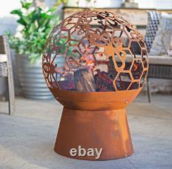 La Hacienda Bumble Honey Bee Steel Oxidised Fire Pit Globe Garden Heating