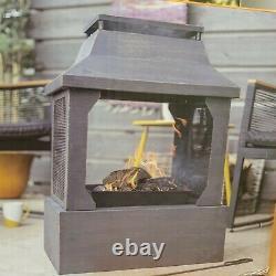 La Hacienda Square Fireplace Log Burner Fire Pit Chiminea 1 Year Warranty