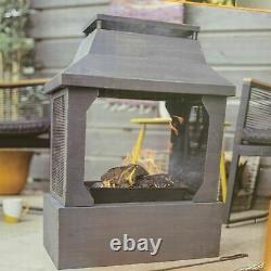 La Hacienda Square Fireplace Log Burner Fire Pit Chiminea 1 Year Warranty 1/1