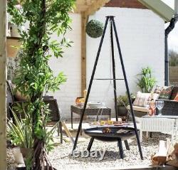 La Hacienda Tripod Set Bbq &cooking Area Fire Pit Camping Set Garden Heater
