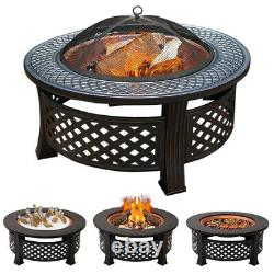 Large 3 in 1 Fire Pit with BBQ Grill Shelf Garden Heater Outdoor Stove Camping