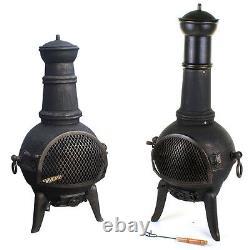 Large Cast Iron Chimenea Chiminea Chimnea Garden Patio Heater Steel Fire Pit NEW