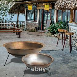 Large Cast Iron Garden Fire Pit Outdoor Patio Log Burner Steel Fire Bowl withStand