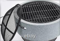 Large Fire Bowl Pit 52cm Garden Patio Outdoor Heating Brazier Heater + BBQ Rack