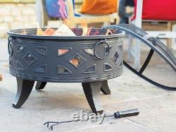 Large Fire Pit Garden Patio Black Steel Campeche Heater Steel BBQ Outdoor Burner