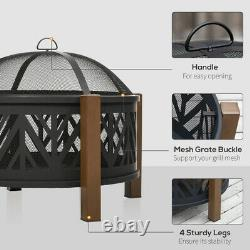 Large Garden Fire Pit Outdoor Patio Camping BBQ Grill Log Burner Heater Steel