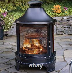 Large Garden Fire Pit Outdoor Patio Heater Log Burner Metal BBQ Cooking Grill