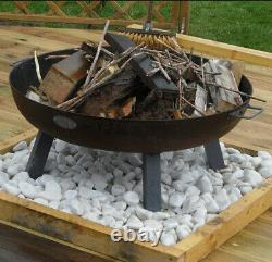 Large Garden Fire Pit Outdoor Patio Solid Steel Bowl Wood Log Burner Heater New