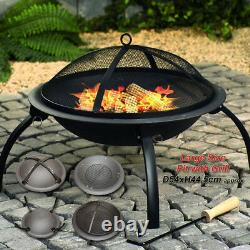 Large Patio Bbq Patio Bowl Fire Pit Heater Folding Garden Outdoor Camping Grill