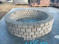 Light gray pit 105 cm granite slab fire place Garden Patio Decor BBQ 4 levels