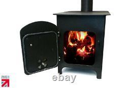 Metallic Black Log Stove Fire Burner Heater Wood Burner Workshop Cabin Patio
