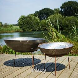 Mild Steel Fire Pit with Iron Stand Burner Garden Heater Camping Rust Bonfire