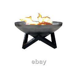 New Fire Pit & Grille Outdoor Garden Bowl Patio Heater 60cm BBQ Log Burner
