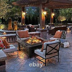 New Large Outdoor Fire Pit, BBQ Grill Square Garden Table Patio Log Burner Stove