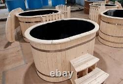 OVAL HOT TUB FOR 2 PERSONS MINI SPA japanese wood fired spa with outside heater