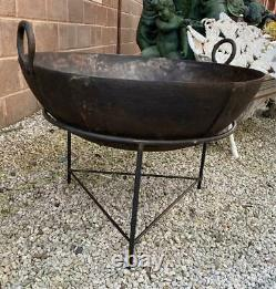 Original Iron Indian Kadai Fire Pit Bowl 85cm Diameter Includes Stand