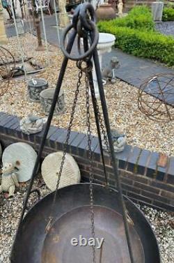 Original Iron Indian Kadai Fire Pit Bowl Includes Stand & Cooking Bowl