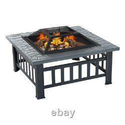 Outdoor 3 In 1 BBQ Brazier Fire Pit Garden Heater Square Table Firepit Stove