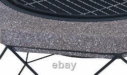 Outdoor Diamond Stand Fire Pit Brazier Mesh Spark Guard BBQ Grill Metal Poker