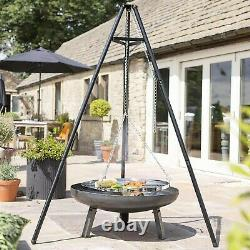 Outdoor Fire Pit BBQ Fire Bowl Garden Tripod Hanging Barbecue net Grill UK