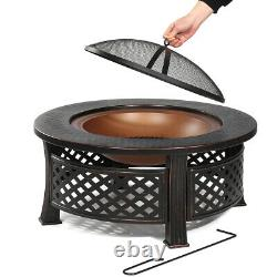 Outdoor Fire Pit BBQ Firepit Brazier Garden Round Table Stove Patio Heater 82cm