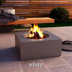Outdoor Fire Pit BBQ Grill Bowl Firepit Square Table Stove Garden Patio Heater