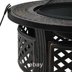 Outdoor Fire Pit Big Round Fire Bowl Garden Patio Heater BBQ Grill Metal Brazier