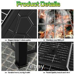 Outdoor Fire Pit Firepit Brazier Garden Square Table Stove Patio Heater 82cm