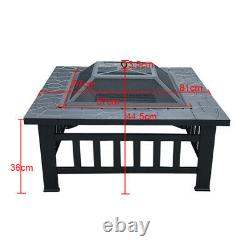 Outdoor Fire Pit Heater Square Table Garden Stove Patio BBQ Firepit Brazier 81cm