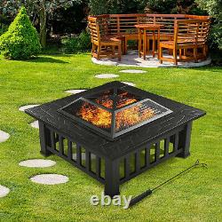 Outdoor Garden BBQ Fire Pit Large Brazier Square Stove Patio Heater Grill 81CM