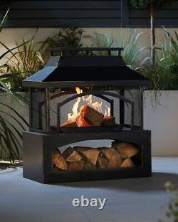 Outdoor Log Burner Fire Pit Patio Heater Garden Large Chiminea Black