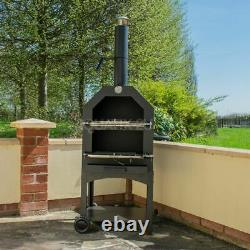 Outdoor Pizza Oven Steel Bbq Smoker Charcoal Wood Fired Barbecue Portable Cooker