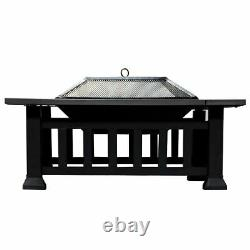 Outdoor Square Fire Pit For Garden Patio Log Burner Metal Brazier Camping Heater