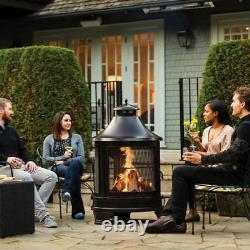Outdoor Steel Cooking Fire Pit With Swing Out Iron Barbecue/Grill + Fire Poker