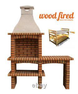 Outdoor brick masonry Mediterranean BBQ with, shelf, chimney and 65 X 40 grill