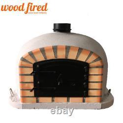 Outdoor wood fired Pizza oven 100cm Light Grey Deluxe model black Door