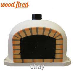 Outdoor wood fired Pizza oven 100cm white Deluxe model black door