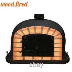 Outdoor wood fired Pizza oven 80cm black Deluxe model black Door