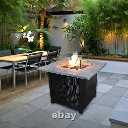Peaktop Firepit Outdoor Gas Fire Pit Rattan, Cover, Easy Ignition HF34501BA-UK