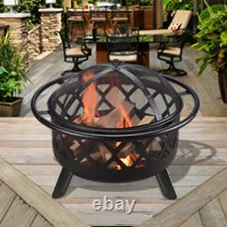 Peaktop Firepit Outdoor Wood Burning Fire Pit For Logs Steel With Cover CU296