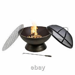 Peaktop Firepit Outdoor Wood Burning Fire Pit Steel BBQ Grill Poker HR30701AA