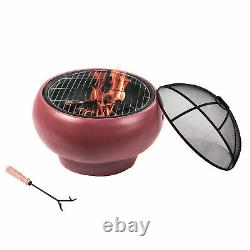 Peaktop Firepit Wood Burning Fire Pit Concrete Style BBQ Grill Poker HR17501AC