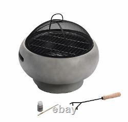 Peaktop Firepit Wood Burning Fire Pit For Logs Concrete Style, Cover HR17501AB