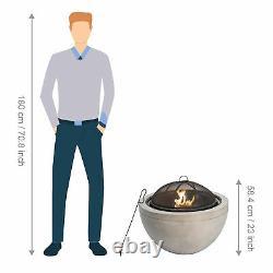 Peaktop Outdoor Garden Patio Round Wood Burning Fire Pit & BBQ Grill HR30180AA